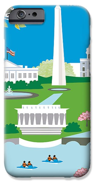 D.c. Digital Art iPhone Cases - Washington D.C. iPhone Case by Karen Young