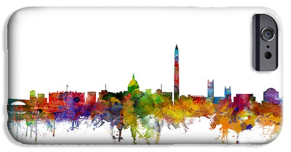 United iPhone Cases - Washington DC Skyline iPhone Case by Michael Tompsett