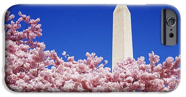 Cherry Blossoms iPhone Cases - Washington Monument Washington Dc iPhone Case by Panoramic Images
