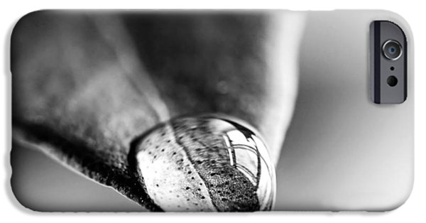 Square Format iPhone Cases - Water drop on leaf iPhone Case by Elena Elisseeva