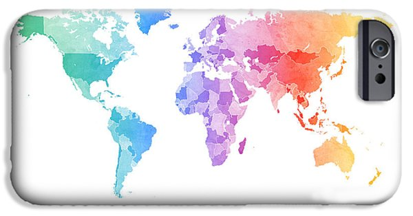 World Digital Art iPhone Cases - Watercolor Map of the World Map iPhone Case by Michael Tompsett