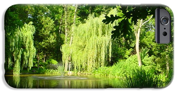 Willow Lake iPhone Cases - Weeping Willow Pond iPhone Case by Lyric Lucas