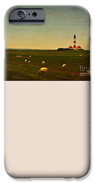 North Sea Mixed Media iPhone Cases - Westerhever Lighthouse iPhone Case by Angela Doelling AD DESIGN Photo and PhotoArt