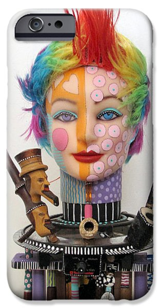 Fun Sculptures iPhone Cases - What The Hell Was She Smoking iPhone Case by Keri Joy Colestock