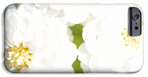 Close Up Floral Mixed Media iPhone Cases - White flower macro iPhone Case by Toppart Sweden