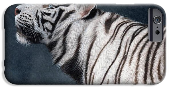 White Tiger iPhone Cases - White Tiger Painting iPhone Case by Rachel Stribbling