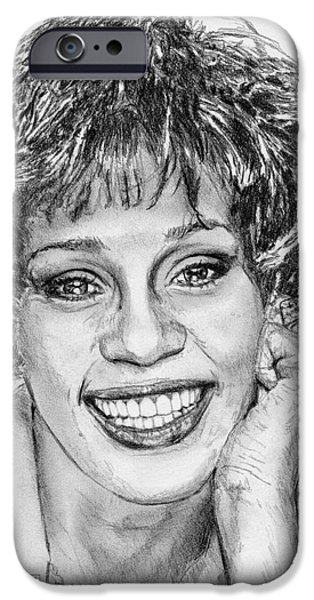 Celebrities Art iPhone Cases - Whitney Houston in 1992 iPhone Case by J McCombie