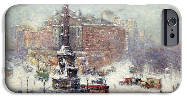 Cora Wandel iPhone Cases - Wiggins Columbus Circle In Winter iPhone Case by Cora Wandel