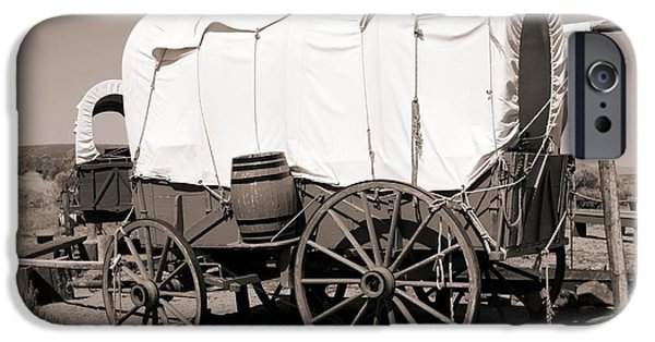 Nineteenth iPhone Cases - Wild West Covered Wagons iPhone Case by Tony Craddock
