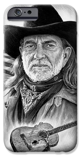 4th July Drawings iPhone Cases - Willie Nelson American Legend iPhone Case by Andrew Read