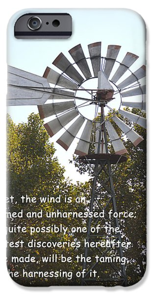 Honest Abe iPhone Cases - Windmill With Lincoln Quote iPhone Case by Barbara Snyder