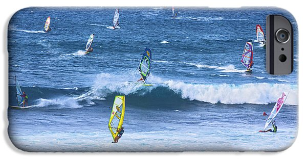 Windsurfer iPhone Cases - Windsurfers on Maui iPhone Case by Diane Diederich