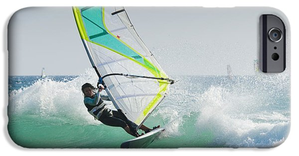25-29 Years iPhone Cases - Windsurfing Off Punta Paloma Tarifa iPhone Case by Ben Welsh