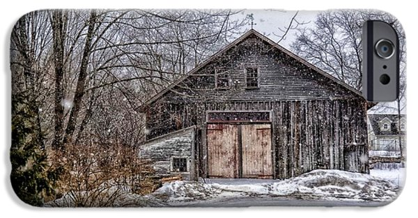 Cabin Window Digital Art iPhone Cases - Winter At The Farm iPhone Case by Tricia Marchlik