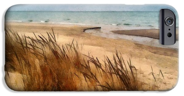 Wintertime iPhone Cases - Winter Beach at Pier Cove ll iPhone Case by Michelle Calkins