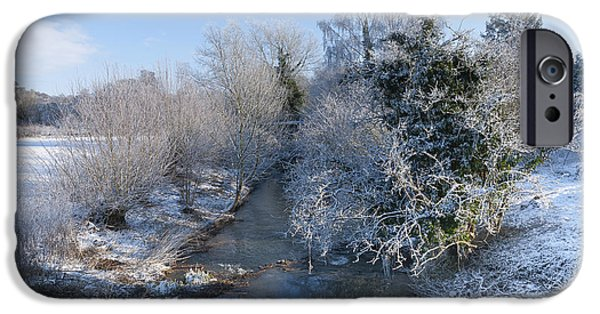 Snowy Stream iPhone Cases - Winter Landscape iPhone Case by Svetlana Sewell