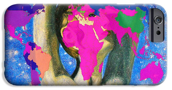 Earth Map Digital Art iPhone Cases - World Map and Aphrodite iPhone Case by Augusta Stylianou
