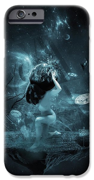 Concept Art iPhone Cases - World on my shoulders iPhone Case by Erik Brede