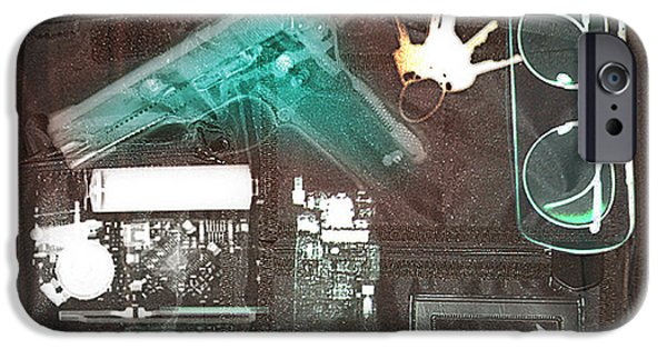 Terrorism iPhone Cases - X-ray Of A Briefcase With A Gun iPhone Case by Scott Camazine