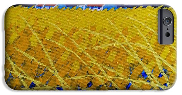 Landscape Acrylic Prints iPhone Cases - Yellow Meadow iPhone Case by John  Nolan