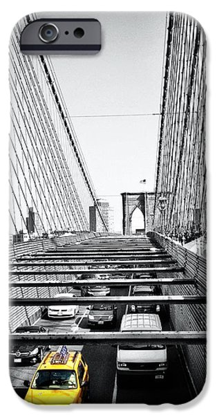 Brooklyn Bridge Digital Art iPhone Cases - Yellow iPhone Case by Natasha Marco