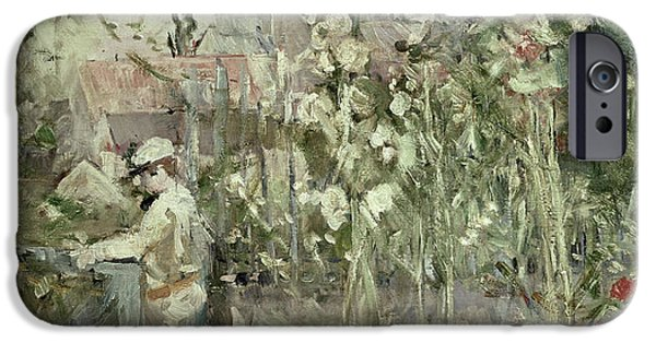 Young Boy iPhone Cases - Young Boy in the Hollyhocks iPhone Case by Berthe Morisot