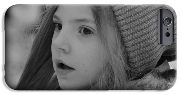 Young Pyrography iPhone Cases - Young girl iPhone Case by Frederick Kjorling