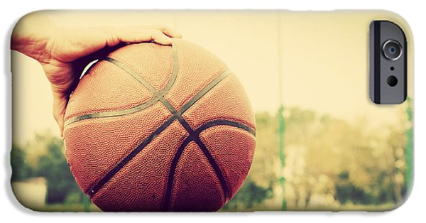 Basket Ball Game iPhone Cases - Young man on basketball court iPhone Case by Michal Bednarek