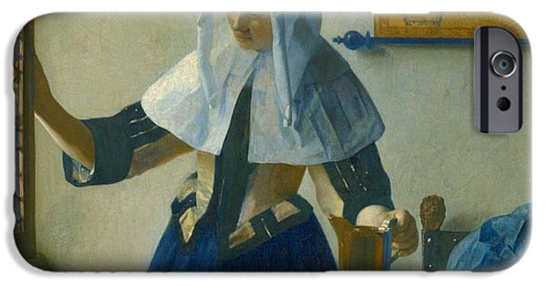 Old Pitcher Paintings iPhone Cases - Young Woman with a Water Pitcher iPhone Case by Johannes Vermeer
