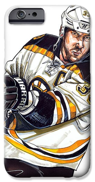 Hockey Drawings iPhone Cases - Zdeno Chara iPhone Case by Dave Olsen