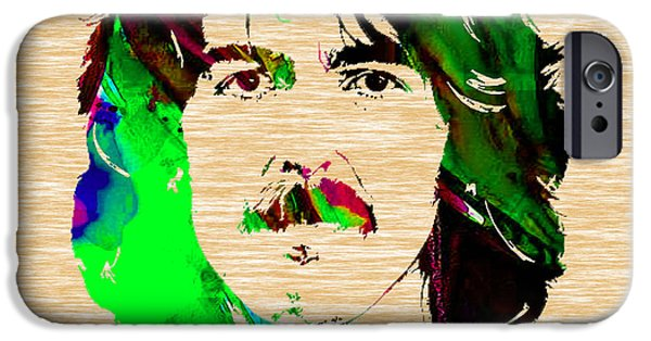 Beatles Mixed Media iPhone Cases - George Harrison Collection iPhone Case by Marvin Blaine