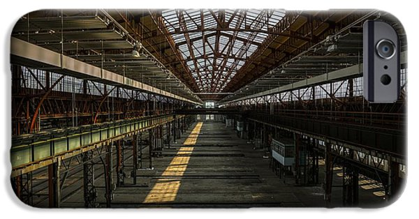 Creepy Pyrography iPhone Cases - Industrial interior of an old factory iPhone Case by Oliver Sved