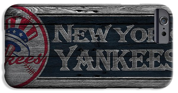 Baseball Glove iPhone Cases - New York Yankees iPhone Case by Joe Hamilton