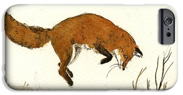 Sign iPhone Cases - Red Fox iPhone Case by Juan  Bosco