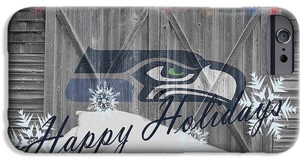 Santa iPhone Cases - Seattle Seahawks iPhone Case by Joe Hamilton