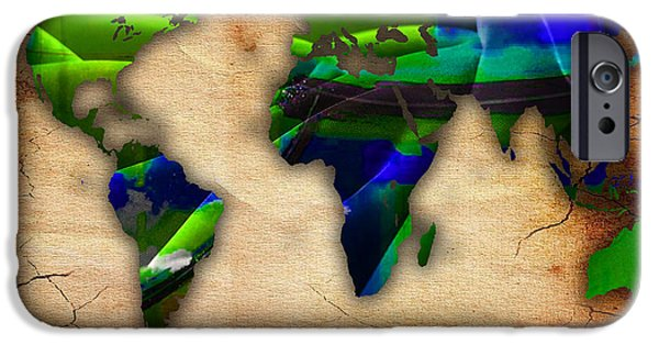 Globe iPhone Cases - World Map Watercolor iPhone Case by Marvin Blaine