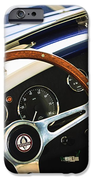 Replica iPhone Cases - 2001 Shelby Cobra Replica Steering Wheel Emblem iPhone Case by Jill Reger