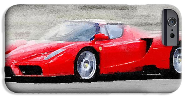 Old Cars iPhone Cases - 2002 Ferrari Enzo Watercolor iPhone Case by Naxart Studio