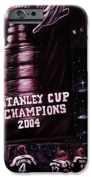 Hockey Paintings iPhone Cases - 2004 Champs iPhone Case by Marlon Huynh