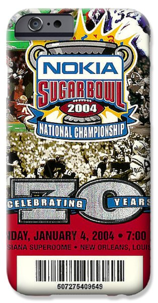 Louisiana State University iPhone Cases - 2004 National Championship Ticket - LSU vs Oklahoma iPhone Case by David Patterson