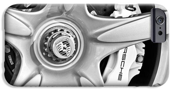 2005 iPhone Cases - 2005 Porsche Carrera GT Wheel Emblem -3135bw iPhone Case by Jill Reger