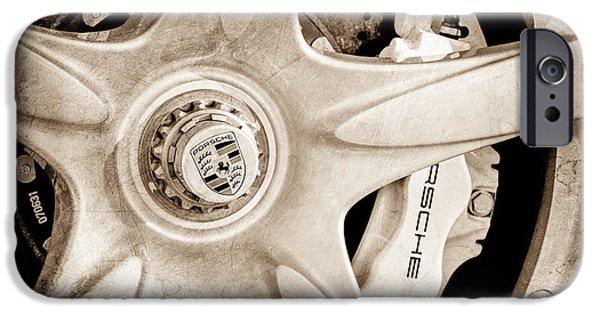 2005 iPhone Cases - 2005 Porsche Carrera GT Wheel Emblem iPhone Case by Jill Reger