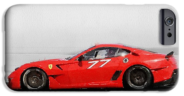 Old Cars iPhone Cases - 2006 Ferrari 599 GTB Fiorano Watercolor iPhone Case by Naxart Studio