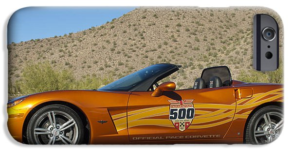 Indy Car iPhone Cases - 2007 Chevrolet Corvette Indy Pace Car iPhone Case by Jill Reger