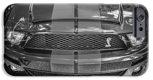 2007 iPhone Cases - 2007 Ford Shelby GT 500 Mustang BW iPhone Case by Rich Franco