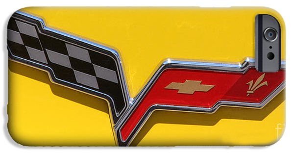Gary Gingrich iPhone Cases - 2010 Corvette Racing Yellow - Logo - 0083 iPhone Case by Gary Gingrich Galleries