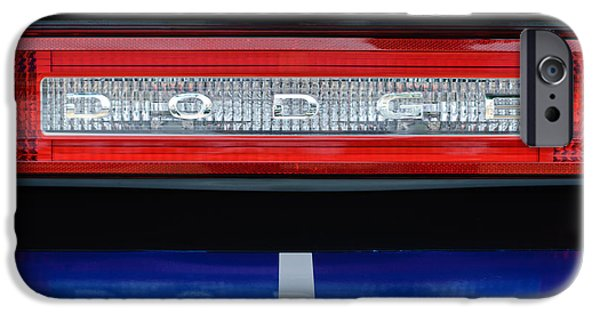 Hemi iPhone Cases - 2011 Dodge Challenger RT Hemi Taillight Emblem iPhone Case by Jill Reger