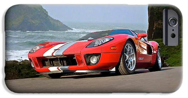 Pch iPhone Cases - 2011 Ford GT Cruzn the PCH iPhone Case by Dave Koontz