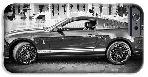 Carroll Shelby iPhone Cases - 2013 Ford Mustang Shelby GT 500 BW iPhone Case by Rich Franco