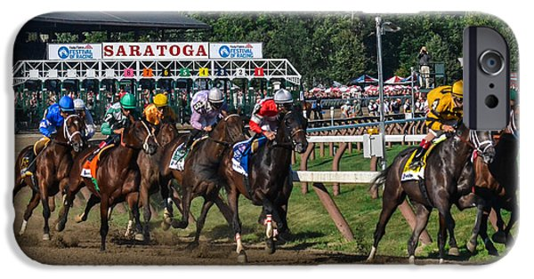 Horse Racing Photographs iPhone Cases - 2013 Whitney Stakes iPhone Case by William Stephen